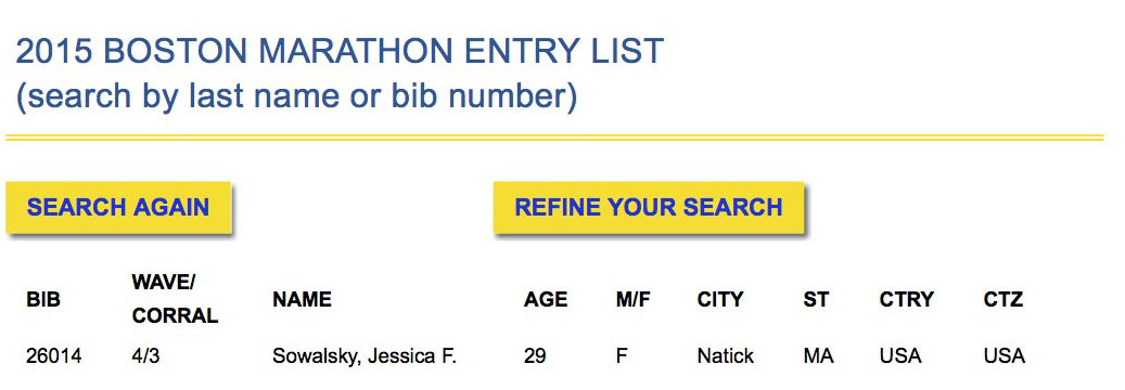 B.A.A. Marathon 2015- Entry List1
